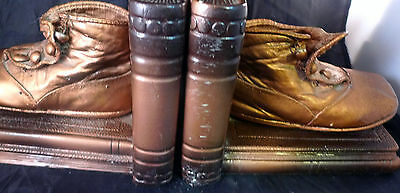 1920s Copper Bronze Dipped Brass Baby Shoe Vintage Bookends Heavy