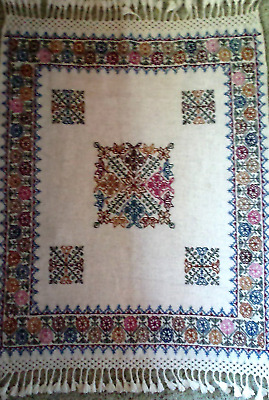 Hand Loomed, Hand Embroidered Small Wool Coverlet- From the Hueyapan Weavers
