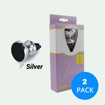 Silver Universal Cell Phone GPS Air Vent Magnetic Car Mount Cradle Holder 2 Pack