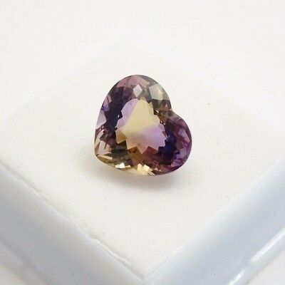 Ametrine - 8.13ct - 14x12.4mm - Heart Shape - Ametrine Loose Gemstone