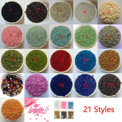 1200Pcs Round Czech Glass Seed Loose Spacer Beads Jewelry Finding DIY Shiny 2mm