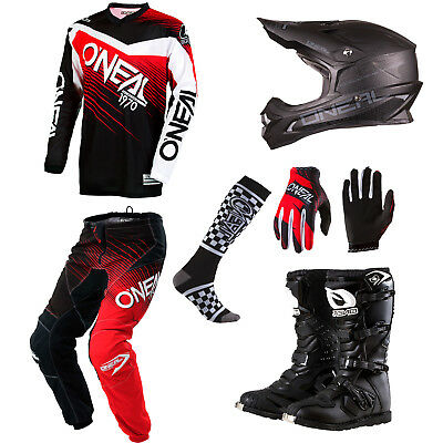 ONeal Element Red motocross gear - Jersey Pants Gloves Socks Helmet Boots Combo