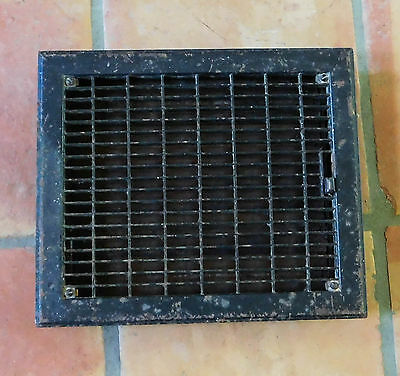 Antique Vintage Black Metal Grate Register Adjustable Heat Floor Vent #1