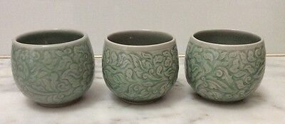 Celadon Thai Green Set of 3 Small Pottery Pots