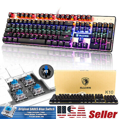 Sades K10 Backlit USB Wired Gaming Keyboard for PC/Laptop with Water-Resistant