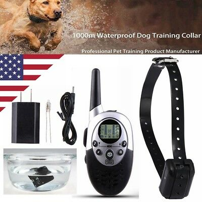 1000 Yard Waterproof IP67 Rechargeable Pet Dog Training Remote Shock Bark Collar