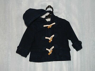 Lily & Dan unisex baby navy wool duffle coat girl boy jacket fleece lined hooded