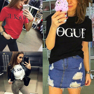 NEW Women Vogue Blouse Summer Short Sleeve Shirt Ladies Casual T-Shirt Top