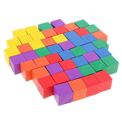 50 Pieces Colorful Wooden Square Cubes Blocks for Kids Craft Toys 2cm