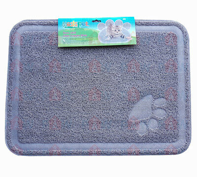 Large Kitty Litter Trapper Mat 60cm x 40cm GREY - Non Skid, Soft On Paws, PVC