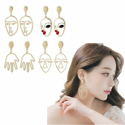 Art Deco Abstract Cutout Face Dangle Drop Gold Silver Tone Earrings Zinc AlloySY