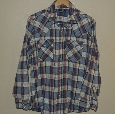 Levis Vintage Western Shirt Rockabilly Pearl Snap Long Sleeve Blue Red Plaid XL
