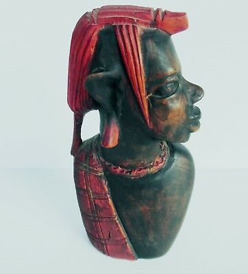 Vintage Handmade/ Hand painted Wooden Bust  of Woman  22 cm x 12 cm