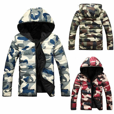 Boys Mens Quilted jacket camo Padded Puffer Coat Down Hooded Casual Winter Warm