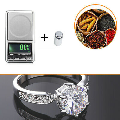 Compact LCD Digital Small Weighing Scales + Precise Calibration 100g Weight Tool