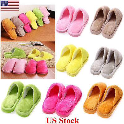 US Plush Indoor Home Women Men Anti Slip Shoes Soft Warm Cotton Silent Slippers