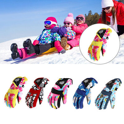 Winter Boys Girls Kids Windproof Ski Snowboard Thick Warm Finger Gloves Outdoor