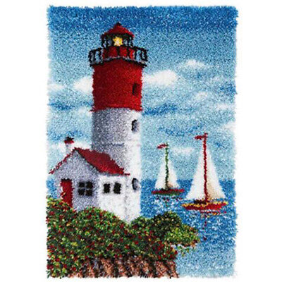 GEX Latch Hook Kit Rug DIY Craft Needle Carpet Embroidery 43*29 inch Lighthouse