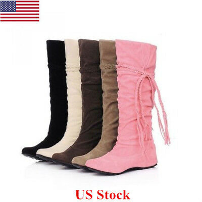 US Women's Ladies Thigh High Over The Knee Low Heel Lace Up Slouch Flats Boots