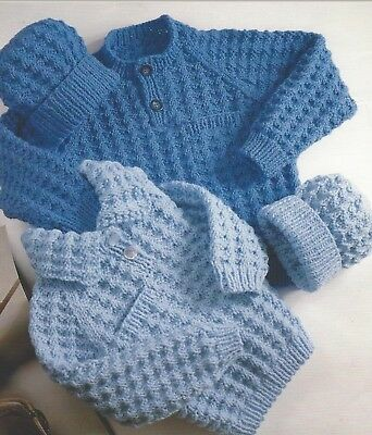 "Baby Girls and Boys Chunky Sweaters and Hat Knitting Pattern 22-28"" 990"