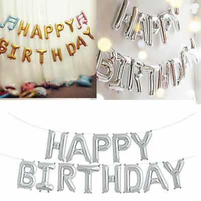 Self Inflating Happy Birthday Banner Foil Balloon Bunting Gold Silver Letters CX
