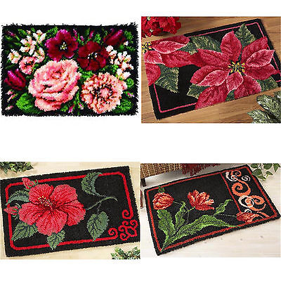 GEX Latch Hook Kit New DIY Craft Needle Carpet Beautiful Flower Elegant43*24inch