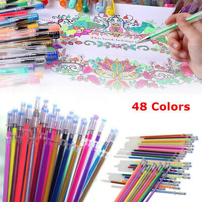 48 Colors Gel Pens Glitter Drawing Painting Craft Marker Refill Stationery 0.8mm
