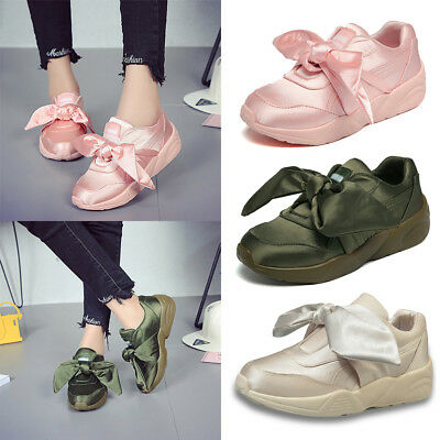 Womens Flat Sneakers Ladies Slip On Pumps Bow Trainers Casual Walking Shoes Size