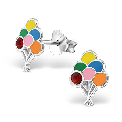 925 Sterling Silver Colourful Balloons With Red Crystal Kids Girls Stud Earrings