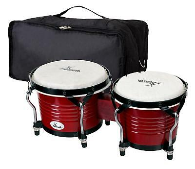 Set Bongos Instrument Percussion Batterie De Main Tambour Poche Bordeaux Fin Pro