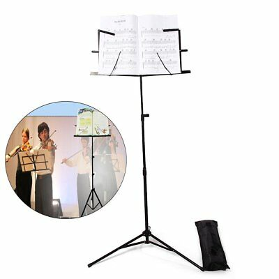 Top Quality Metal Folding Sheet Music Stand Holder Tripod Base Foldable+ Case SY