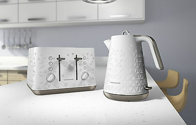 Morphy Richards White Prism Kettle and Toaster Set