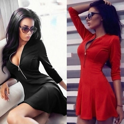 Women's Bodycon Long Sleeve Dress Ladies Party Evening Mini Dress UK Size 6 - 16