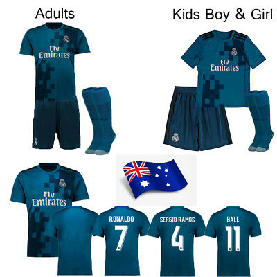 2018 Blue Football Soccer Kit Jersey Short Sleeve Team Suit Adult Kids Boy+Socks