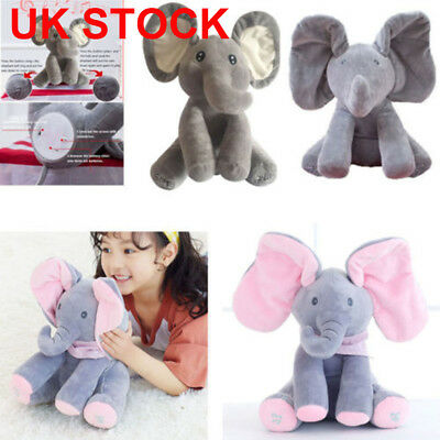 UK SELLER 12'' 30CM Peek-a-boo Elephant Pig rabbit Singing Baby Plush Kids Toys