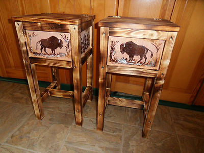 2  bison buffalo table nightstand end table made in Maine solid wood