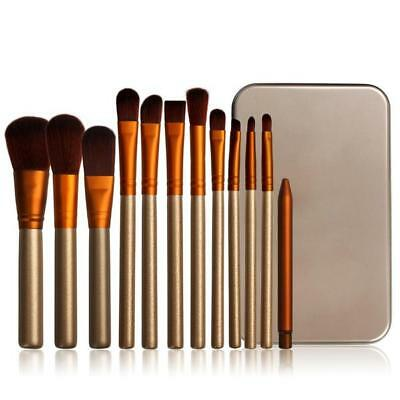 12pc Gold and White Face Foundation Eye Lip MakeUp Brushes Set With Metal Case