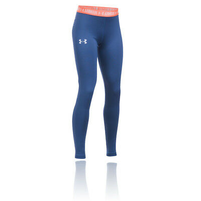 Under Armour HeatGear Armour Júnior Chicas Azul Running Largo Mallas Fondo