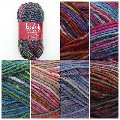 Stylecraft BATIK ELEMENTS Acrylic Wool Double Knit Knitting Wool Yarn 50g Ball