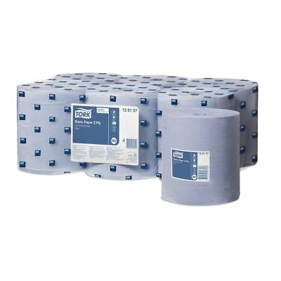 6 x 'Tork' Basic Paper - Centrefeed Roll - 2 Ply Blue
