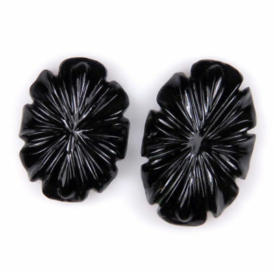 57.84 CTS Black Onyx Carved Flower Oval Hand Crafted Carving 2 Pcs Lot Gemstone