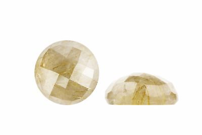 Semiprecious Natural Faceted Golden Rutilated Quartz Round Cabochon Gemstone