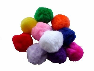 Pom Poms Assorted Colours - 50mm Red Blue Green Pink Orange Purple - Pack of 10