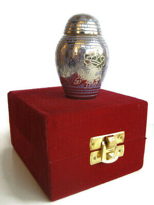 Silver with White Rose Keepsake Cremation Memorial Ashes Brass Urn + Velvet Case