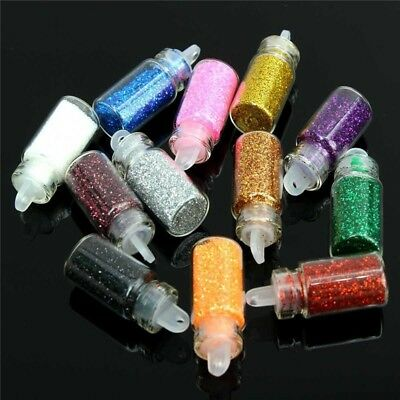 12 Mini Bottles of Nail Glitter Face Body Nail Art Festival Sparkling Glitters