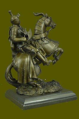 MEDIEVAL ARMORED KNIGHT HORSE Handcrafted Bronze Sculpture Statue Figurine T