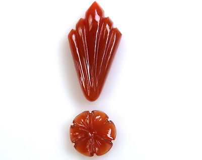 42.5 CTS Red Onyx Carved Flower Design mix Shape HandCrafted Carving 2 Pcs Lot