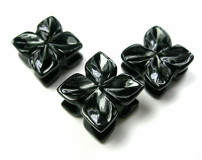 41.1 CTS Black Onyx Carved Fancy Flowers Hand Crafted Carving 5 Lot  3 Pcs set