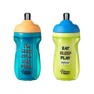 Tommee Tippee Insulated Flippee Straw Cup, 9 Ounce, 2 Count Colors will vary