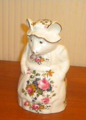 Georgeous Crown fine bone china Floral  standing Mrs Mouse excellent condition